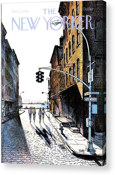 People Acrylic Print featuring the painting New Yorker October 2nd, 1978 by Arthur Getz