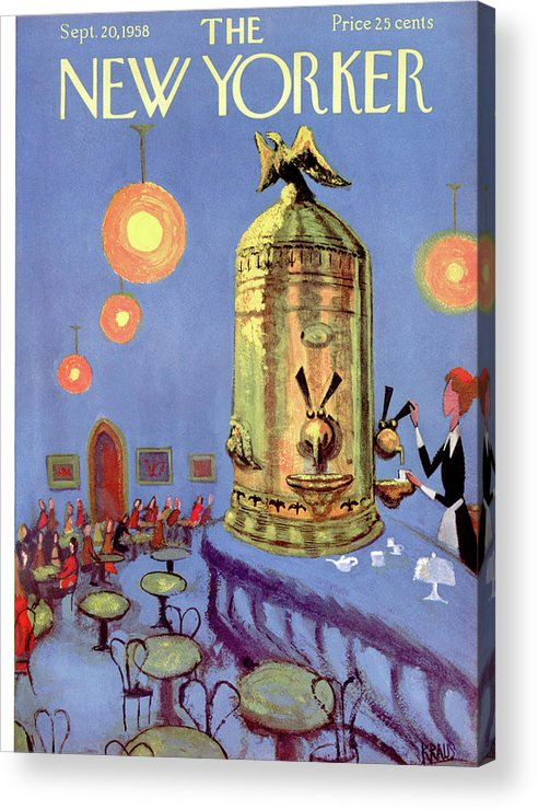 Dining Acrylic Print featuring the painting New Yorker September 20th, 1958 by Robert Kraus