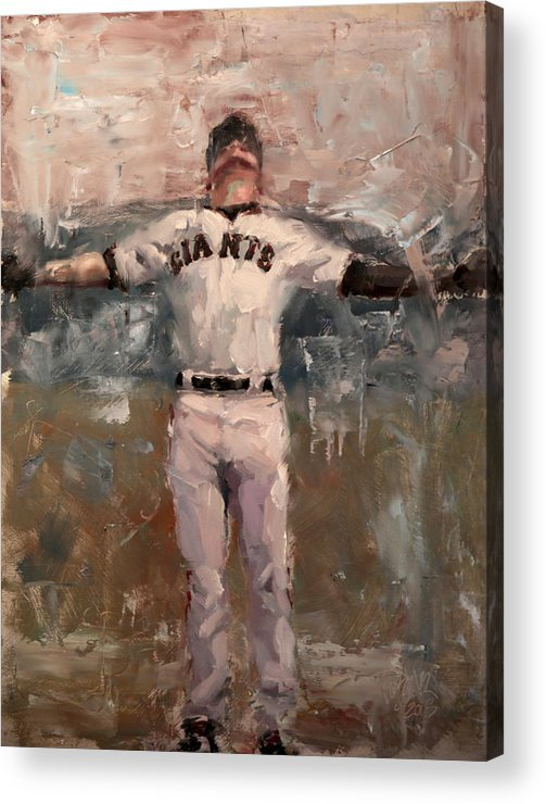 Sf Giants Acrylic Print featuring the painting NLCS Rain by Darren Kerr