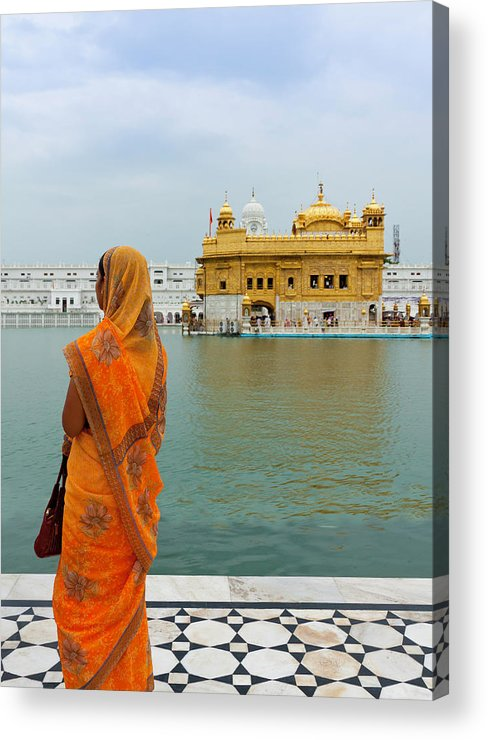 Indian Subcontinent Ethnicity Acrylic Print featuring the photograph Pilgrim In Golden Temple Amritsar, India by Prognone