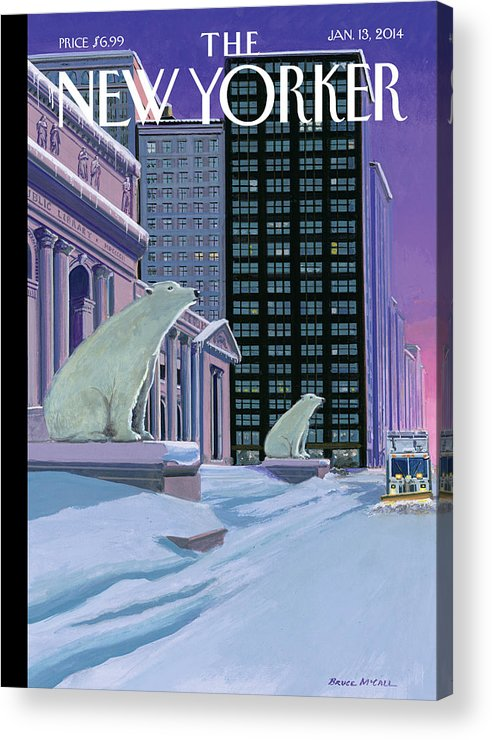 Polar Bears Sit Outside The New York Public Library On Fifth Avenue Acrylic Print featuring the painting Polar Bears on Fifth Avenue by Bruce McCall