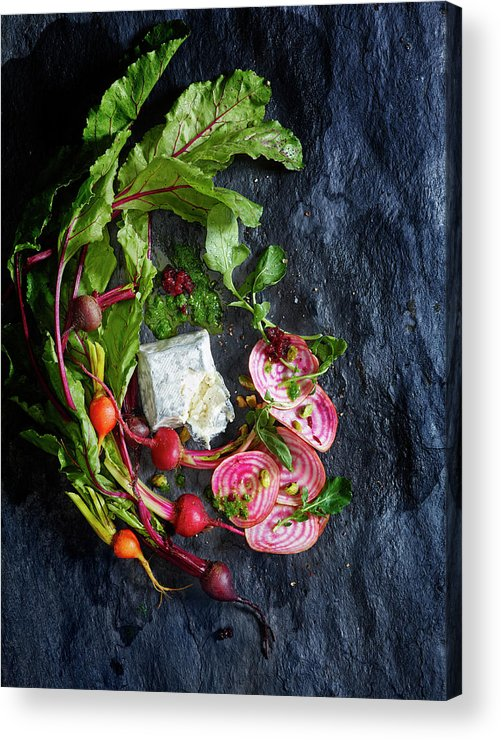 Cheese Acrylic Print featuring the photograph Raw Beeet Salad Ingredients by Annabelle Breakey