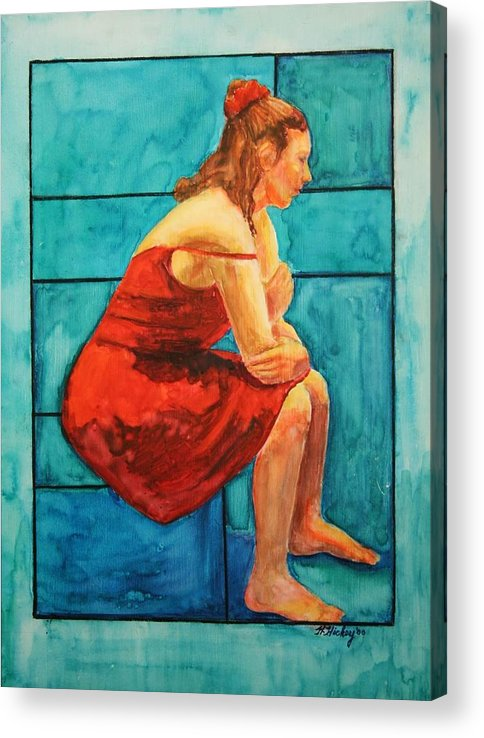 Acrylic Print featuring the painting Red and Blue by Helen Hickey