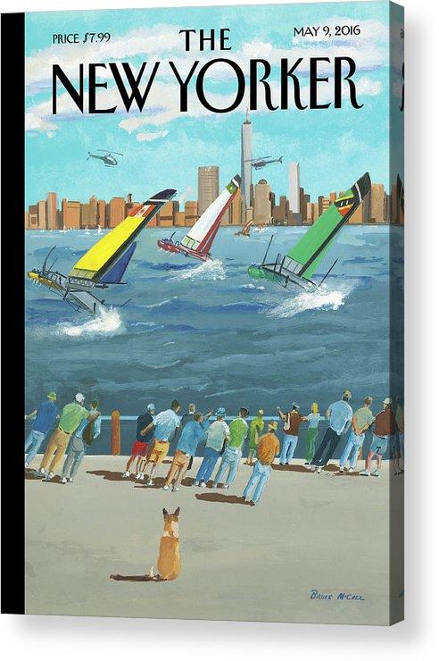 Reggata On The Hudson Acrylic Print featuring the painting Reggata On The Hudson by Bruce McCall