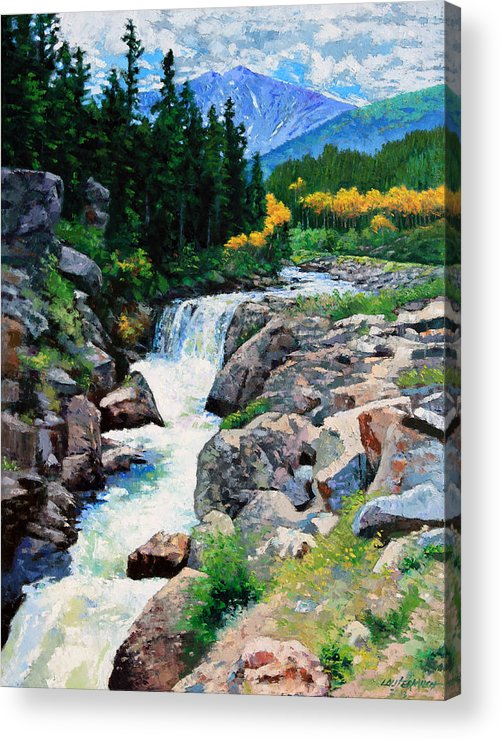 Rocky Mountains Acrylic Print featuring the painting Rocky Mountain High by John Lautermilch