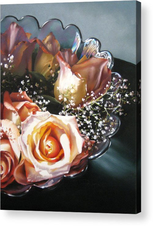 Still Life Acrylic Print featuring the painting Rose Bowl by Dianna Ponting