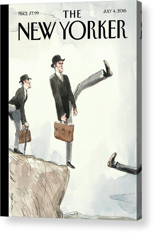 Silly Walk Off A Cliff Acrylic Print featuring the painting Silly Walk Off A Cliff by Barry Blitt