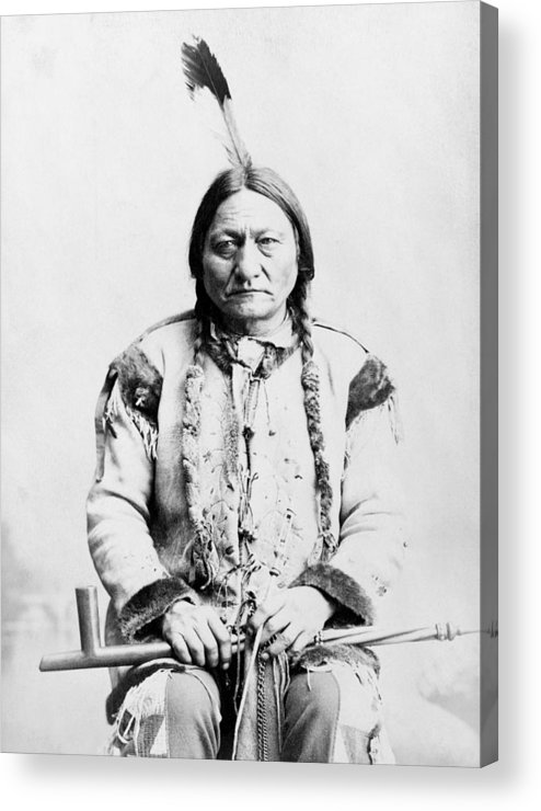 Native American Acrylic Print featuring the photograph Sitting Bull by War Is Hell Store