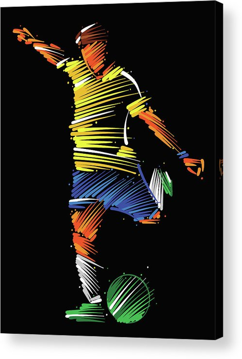 Goal Acrylic Print featuring the digital art Soccer Player Running To Kick The Ball by Dimitrius Ramos