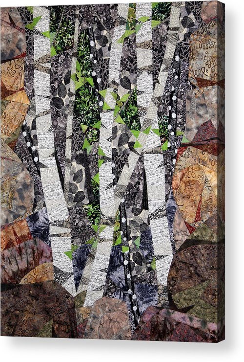 Trees Acrylic Print featuring the tapestry - textile Spring in the Mountains by Linda Beach