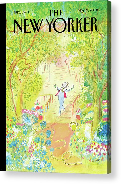 Garden Acrylic Print featuring the painting Springtime by Jean-Jacques Sempe