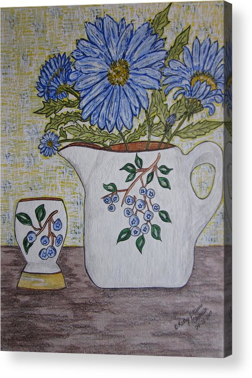 Stangl Blueberry Pottery Acrylic Print featuring the painting Stangl Blueberry Pottery by Kathy Marrs Chandler
