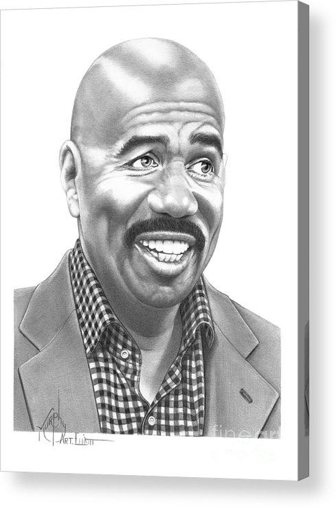 Pencil Acrylic Print featuring the drawing Steve Harvey by Murphy Elliott