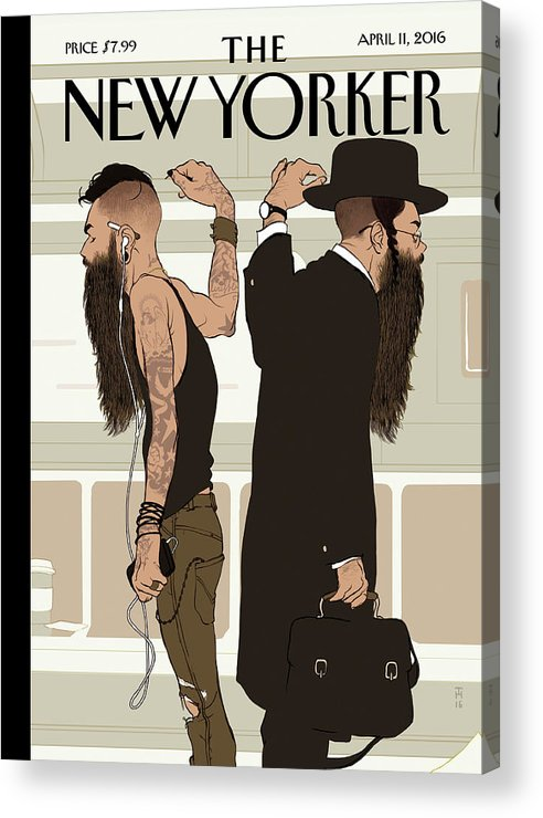 Jewish Acrylic Print featuring the painting Take The L Train by Tomer Hanuka