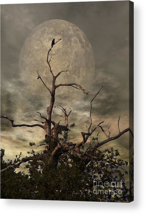 Crow Acrylic Print featuring the digital art The Crow Tree by Abbie Shores