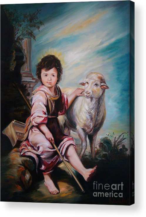 Classic Art Acrylic Print featuring the painting The Good Shepherd by Silvana Abel