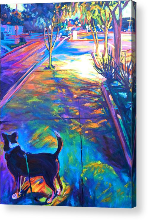 Cityscape Acrylic Print featuring the painting Scout At Twilight by Bonnie Lambert