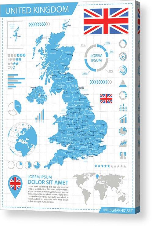 Globe Acrylic Print featuring the digital art United Kingdom - Infographic Map - by Pop jop