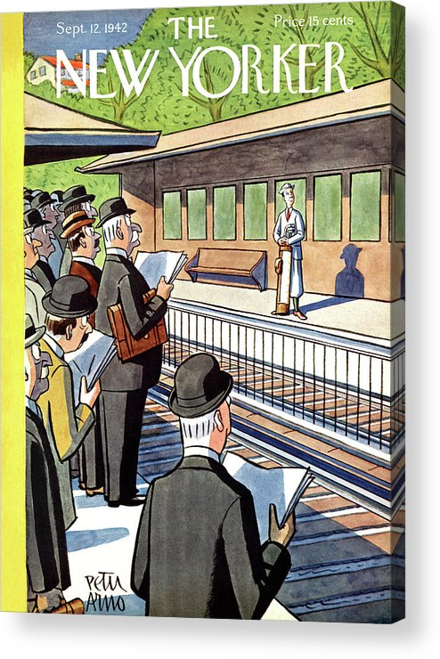 Train Acrylic Print featuring the painting New Yorker September 12, 1942 by Peter Arno