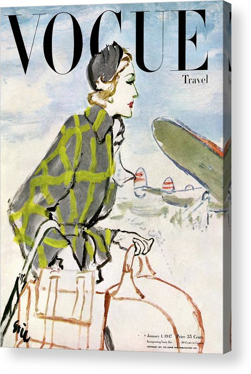Illustration Acrylic Print featuring the photograph Vogue Cover Featuring A Woman Carrying Luggage by Carl Oscar August Erickson