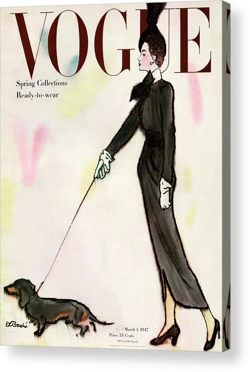 Fashion Acrylic Print featuring the photograph Vogue Cover Featuring A Woman Walking A Dog by Rene R. Bouche