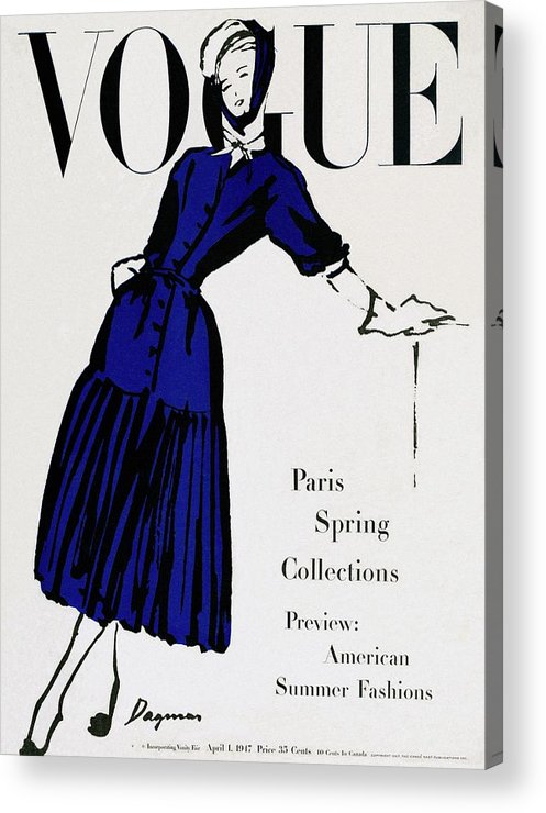 Illustration Acrylic Print featuring the photograph Vogue Cover Illustration Of A Woman Wearing Blue by Dagmar