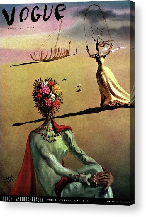 Illustration Acrylic Print featuring the photograph Vogue Cover Illustration Of A Woman With Flowers by Salvador Dali