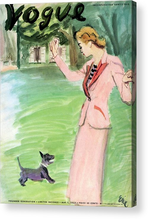 Illustration Acrylic Print featuring the photograph Vogue Magazine Cover Featuring A Woman Playing by Carl Oscar August Erickson