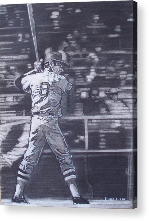 Charcoal On Paper Acrylic Print featuring the drawing Yaz - Carl Yastrzemski by Sean Connolly