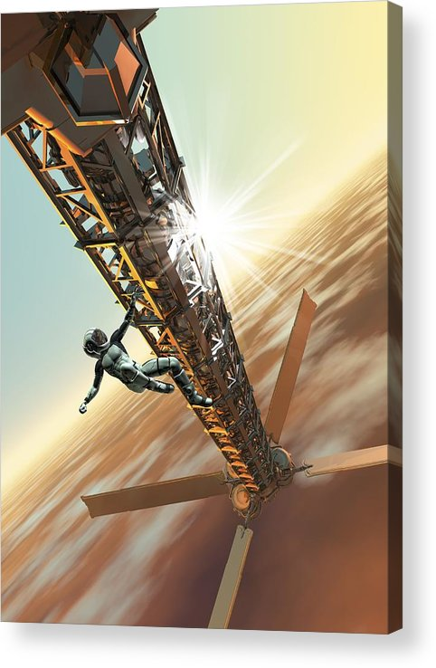 Vertical Acrylic Print featuring the digital art Spacewalk, Artwork by Victor Habbick Visions