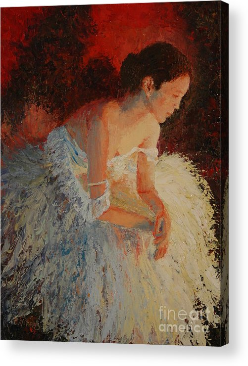 Oil Acrylic Print featuring the painting Ballerina Pondering by Colleen Murphy