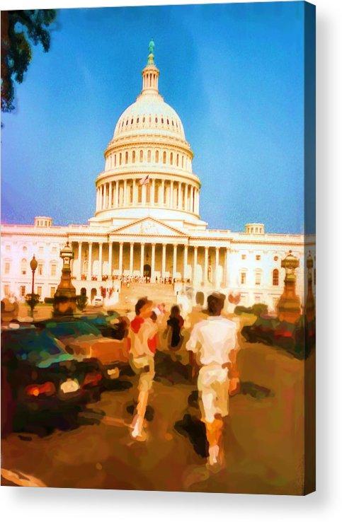 Asbjorn Lonvig Acrylic Print featuring the digital art Capitol Hill Washington USA by Asbjorn Lonvig