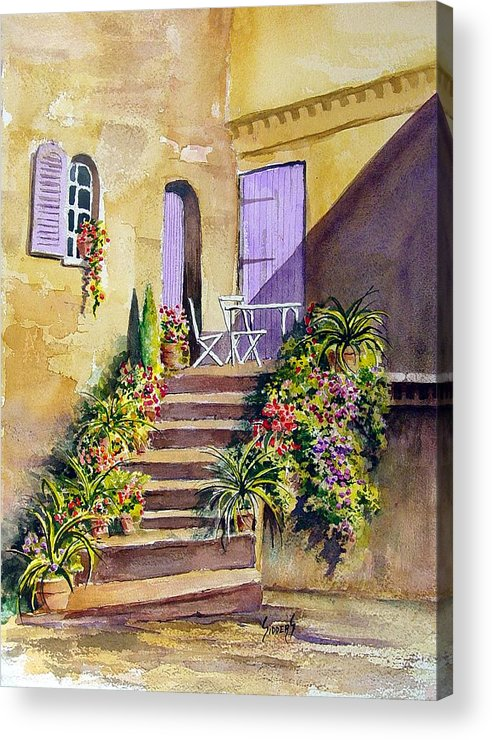 Flowers Acrylic Print featuring the painting Crooked Steps And Purple Doors by Sam Sidders