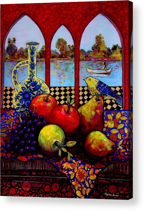 Venice Acrylic Print featuring the painting Fruits And River by Marilene Sawaf