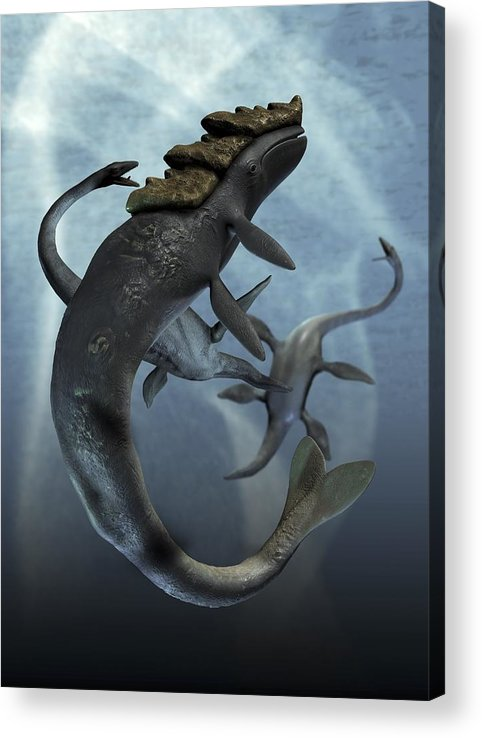 Vertical Acrylic Print featuring the digital art Leviathan And Plesiosaur, Artwork by Victor Habbick Visions