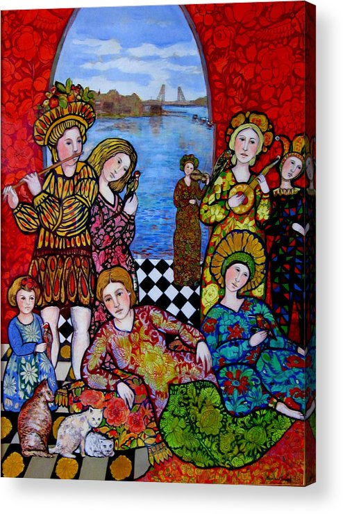 Portsmouth Acrylic Print featuring the painting Liz and Madeline party in Portsmouth by Marilene Sawaf