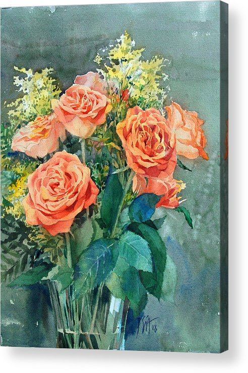 Peter Sit Watercolor Acrylic Print featuring the painting Red Roses by Peter Sit
