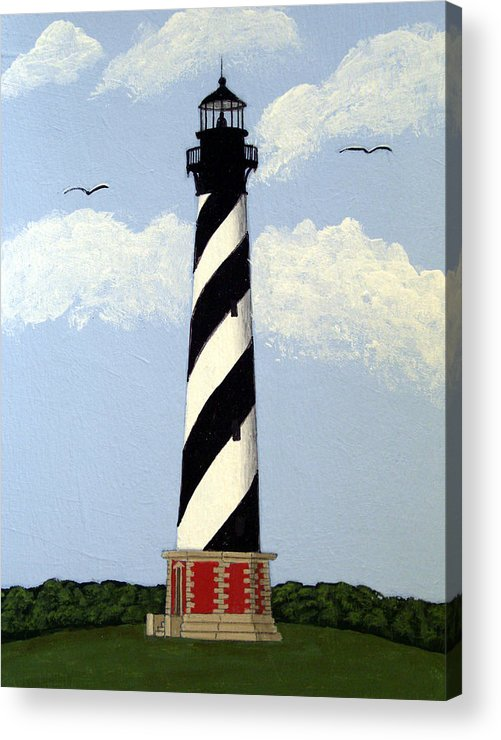 Lighthouse Paintings Acrylic Print featuring the painting Cape Hatteras Lighthouse by Frederic Kohli