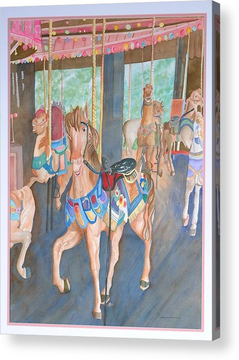 Carousel Acrylic Print featuring the painting Childhood Memories by Rebecca Marona