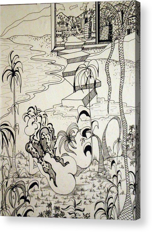 Woman Acrylic Print featuring the drawing Flight From The City by Tammera Malicki-Wong