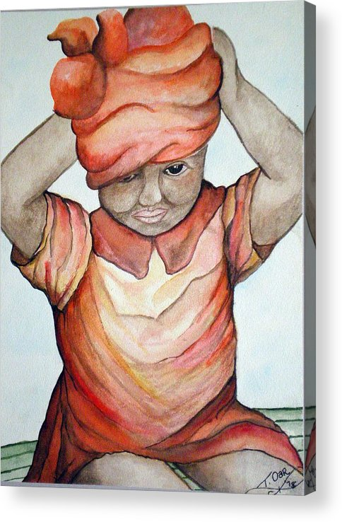 Girl Acrylic Print featuring the painting Indian Girl by Tammera Malicki-Wong