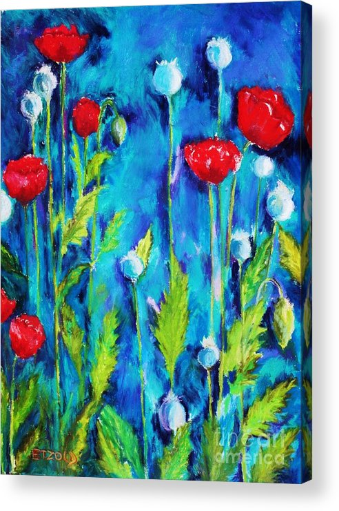 Poppies Acrylic Print featuring the painting Poppies by Melinda Etzold