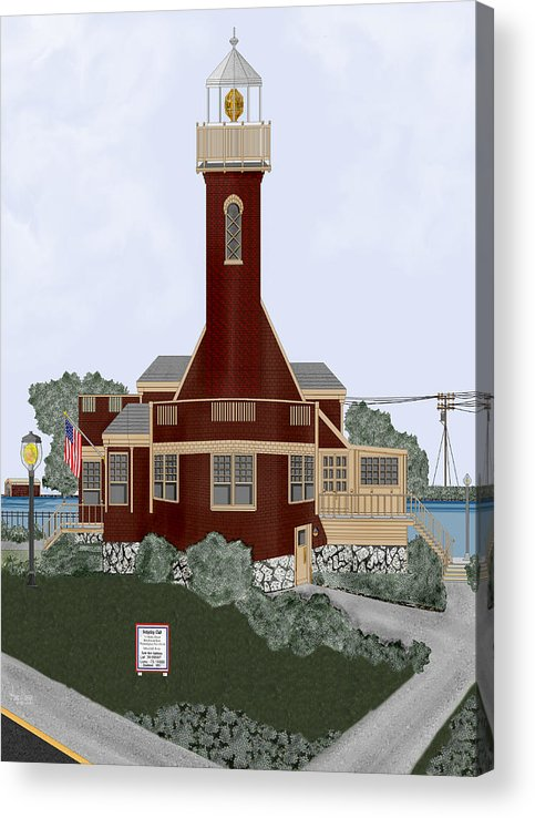 Lighthouse Acrylic Print featuring the painting Turtle Rock Lighthouse by Anne Norskog