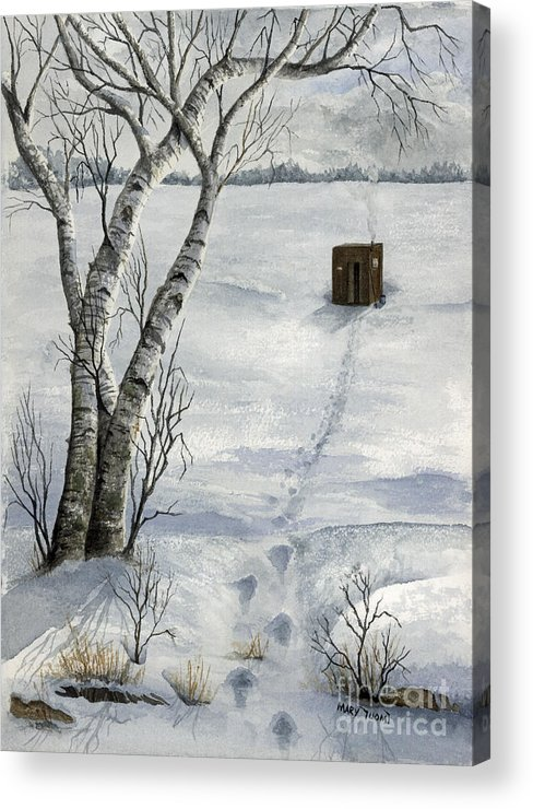 Fishing Acrylic Print featuring the painting Winter Splendor by Mary Tuomi
