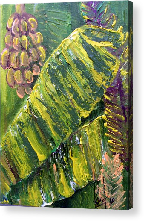 Tropical Acrylic Print featuring the painting Banana Leaves by Carol P Kingsley