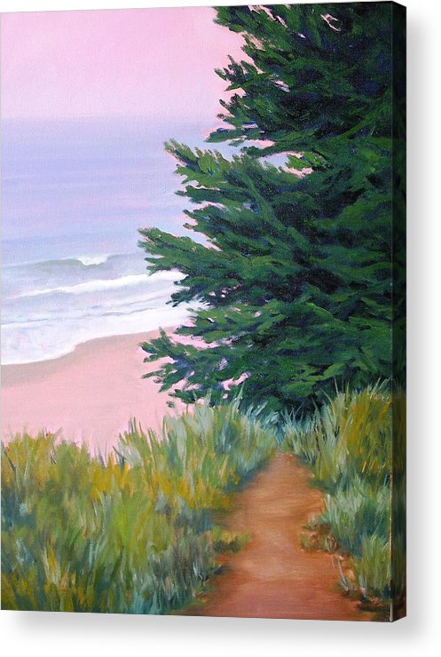Ocean Acrylic Print featuring the painting Above the Beach El Capitan by Dorothy Nalls