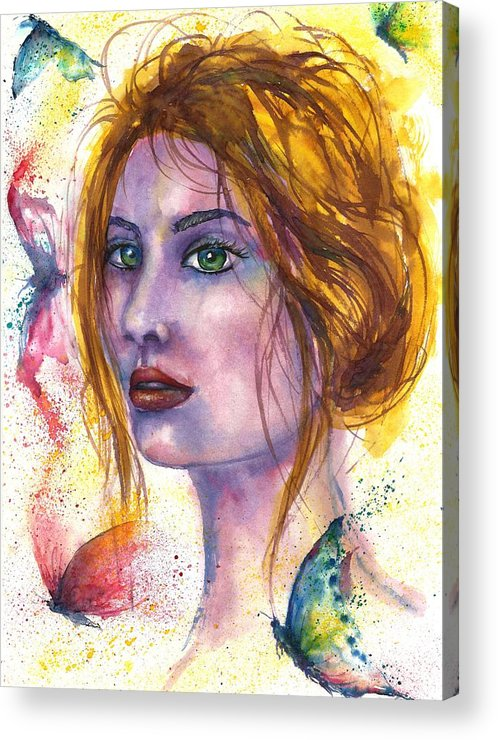 Women Face Acrylic Print featuring the painting Abstract women face by Natalja Picugina