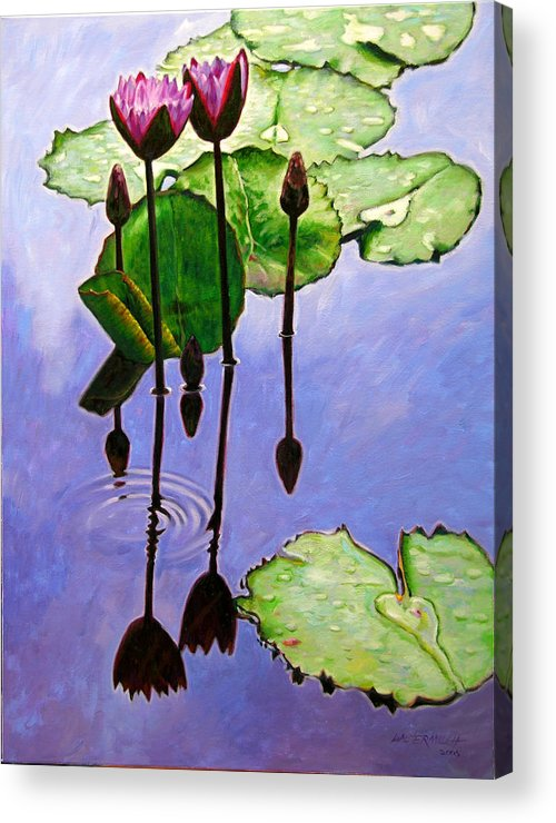 Rose Colored Water Lilies After A Morning Shower With Dark Reflections And Water Ripple. Acrylic Print featuring the painting After The Shower by John Lautermilch