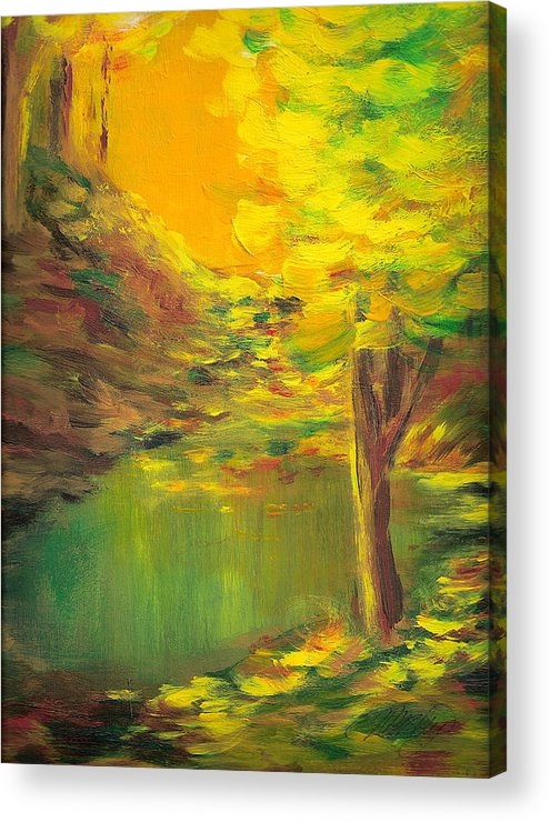 Landscape Acrylic Print featuring the painting Aldergrove Lake by Vi Mosley