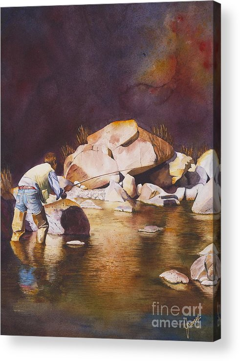 Fly Fisherman Acrylic Print featuring the painting Anticipation by Jany Schindler